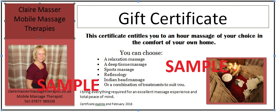 Sample gift voucher