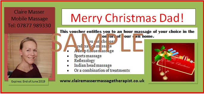 Personalised Christmas gift voucher for massage
