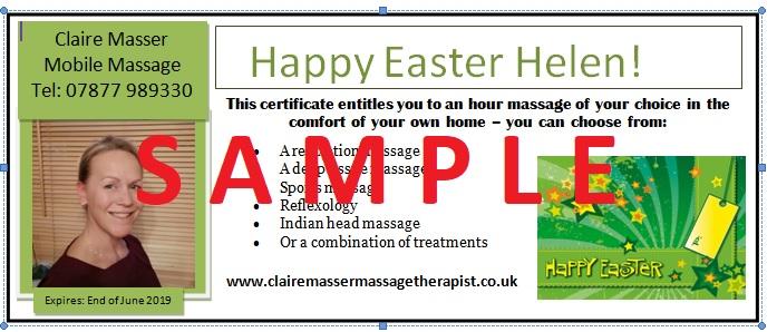 sample mobile massage Easter gift voucher
