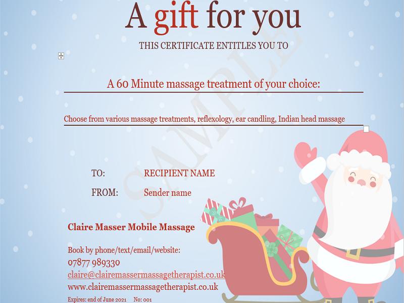 Buy a Christmas massage gift voucher